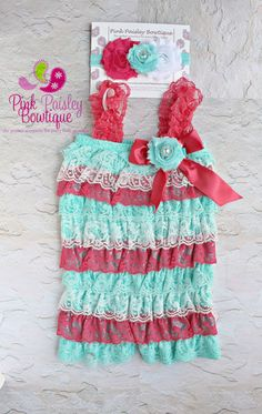 1301aca2defb Coral Mint and White Baby Romper