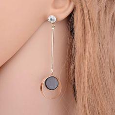 Fashion-Asymmetric-Gold-Color-Black-Rhinestone-Long-Drop-Earrings
