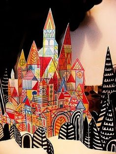 3-d paper villages - hand on walls for 3-d effect  study:klee