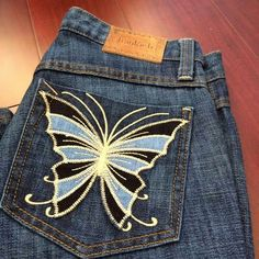 Pretty!!! New! Frankie B jeans Brand new limited edition Frankie B straight leg jeans with beautiful butterfly embroidery on back pockets. Dark wash denim with tag attached. Size 24 with some stretch. Like most of my jeans I never got a chance to hem them and now they don't fit. Sorry no PayPal or trades. Frankie B. Jeans