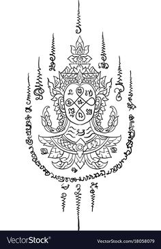 Thai yantra thai traditional tattoo vector image on VectorStock Cambodian Tattoo, Khmer Tattoo, Yantra Tattoo, Sak Yant Tattoo, Maori Tattoos, Hawaiian Tribal Tattoos, Samoan Tribal Tattoos, Thailand Tattoo, Cross Tattoo For Men