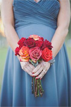 bridesmaid red rose bouquet @weddingchicks