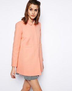 Pastel coral coat   ASOS Dolly Coat in Jacquard ($114)