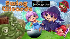 Swing Wizards - Cute, time stealing game for Android  Swing Wizards is cute little time stealer in anime cartoon style that tests your reflexes.  Looks extremely easy, but it's not.  Beware of orcs, avoid obstacles, collect points, tap and fly. This game gives lots of fun, both for kids and adults.  Really. And it's free... https://play.google.com/store/apps/details?id=com.animecartoon.games.swing.wizards