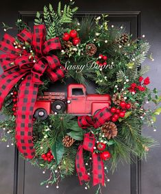 Red Truck Wreath Red Truck Christmas Wreath Rustic Christmas Wreath Happy New Year Christmas Red Truck, Noel Christmas, Christmas Crafts, Christmas Ornaments, Christmas Ideas, Christmas Swags, Country Christmas Decorations, Farmhouse Christmas Decor, Xmas Decorations