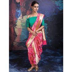 Pink Banarasi Silk Saree with Weaving Work
