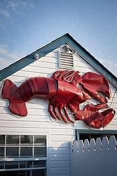 Lobster sign in front of Claudio's restaurant, Greenport