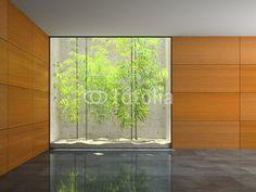 Empty room with wooden panel walls 3D rendering 3