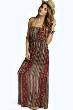 Atara Chiffon Printed Bandeau Side Split Maxi Dress