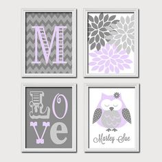 Monogram Child Name Lilac Purple Gray Grey Owl by trmDesign, $38.00