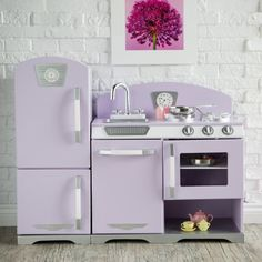 KidKraft 2 Piece Lavender Retro Kitchen and Refrigerator - 53290 - Play Kitchens at Hayneedle Retro Kitchen Decor, Retro Home Decor, Vintage Kitchen, Kitchen Design, Wooden Play Kitchen, Kids Play Kitchen, Real Kitchen, Play Kitchens, Toys