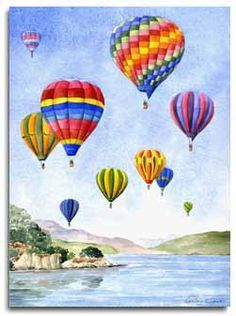 Original watercolour painting of hot air balloons by artist Lesley Olver