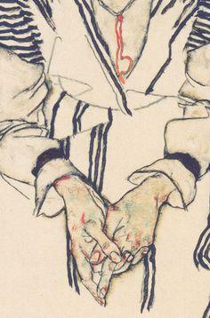 "detailsofpaintings: ""Egon Schiele, Bildnis der Schwägerin des Künstlers, Adele Hams (detail) 1917 "" lovely details!"