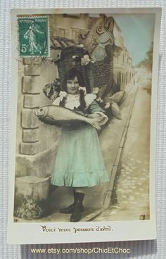 French Antique Postcard - Girl Carrying Fish (Poisson D'Avril / April 1st)