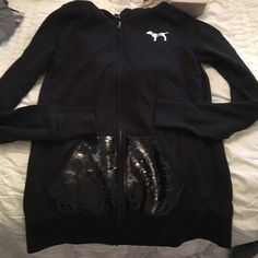 Victoria's Secret sweat shirt Zip up sweatshirt practically new no tags price is negotiable small but runs big so will also got a medium Victoria's Secret Sweaters