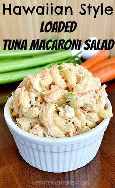 This isn't your typical macaroni salad. This Hawaiian Style loaded tuna macaroni salad has carrots, celery, onions, tuna, and a secret way to flavor macaroni. Healthy Tuna Recipes, Fish Recipes, Seafood Recipes, Pasta Recipes, Salad Recipes, Cooking Recipes, Hawaiian Recipes, Hawaiian Bbq, Macaroni Pasta Salad