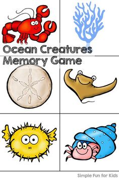 Do you enjoy printable games? Play an ocean creatures memory game with your toddler or preschooler! Start with just a few pairs and work up to using all 20 pairs! Fun Activities For Preschoolers, Ocean Activities, Summer Activities For Kids, Kindergarten Activities, Preschool Activities, Animal Activities, Memory Games For Kids, Animal Games, Ocean Creatures