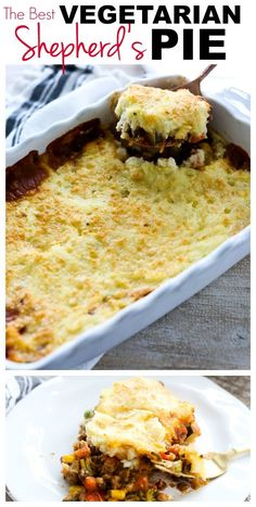 Shepherd's Pie Rezept - Easy and Healthy Dinner Ideas - Torten Shepherds Pie Rezept, Vegetarian Shepherds Pie, Quick Vegetarian Dinner, Clean Eating Vegetarian, Quick Vegetarian Meals, Vegetarian Cooking, Dinner Healthy, Healthy Vegetarian Casserole, Fall Vegetarian Recipes