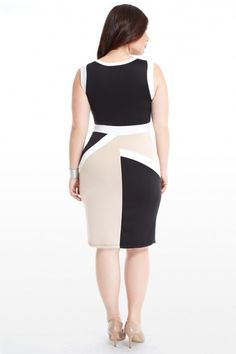 Plus Size Colorblock Asymmetric Dress | Fashion To Figure