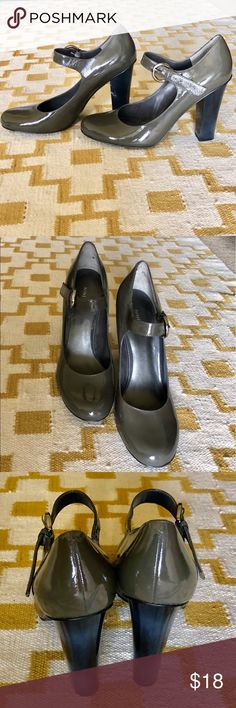 Nine West patent maryjane heels Nine West gray maryjane patent heels. Black heel. Worn a handful of times. Gently used condition. Few imperfections from wear: one scuff on the outside heel of left shoe and 2 small scuffs on outside toe of right shoe (pictured in photos #6 and #7). ***If you have ANY questions at all - measurements, fabrication, item condition, etc. - PLEASE ASK 👍 It's important to me, that you, as the customer, are 100% clear about the product you are purchasing. Happy to…