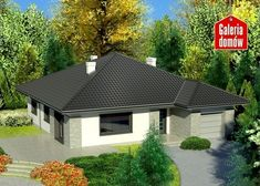 Projekt domu: Dom przy Słonecznej 3 bis Cottage Style House Plans, Bungalow House Design, Small House Plans, Future House, Gazebo, Shed, Outdoor Structures, Cabin, How To Plan