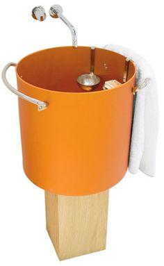 Aluminum Powder-coated Bathroom Sinks - made to look like soup pots! Genius!