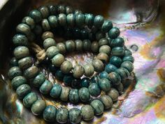 8mm Round Bone Beads, Handcrafted Turquoise Blue and Sand Color, Boho Beach…