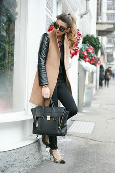Beige coat with leather sleeves? No way! Love the zip-up bag too! Love this fall and winter outfit. #style