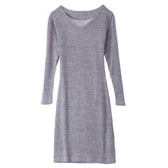 Style: Casual :    Material: Cotton :    Silhouette : Sheath :    Dresses Length: Mini :    Neckline: V-Neck :    Sleeve Length: Long Sleeves :    Pattern Type: Solid :    With Belt: No :    Season: Fall/ Winter :    Weight: 0.263 KG :    Package Contents: 1 x Dress: