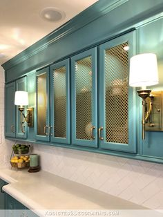 Glass Front Cabinets, New Kitchen Cabinets, Built In Cabinets, Diy Cabinets, Teal Kitchen, Cheap Kitchen Cabinets, Maple Cabinets, Blue Cabinets, Kitchen Colors
