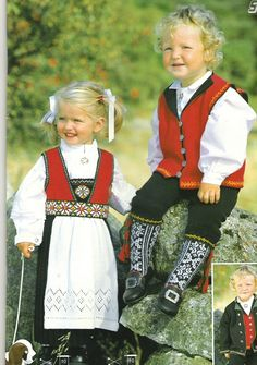 Children in traditional Norwegian bunad
