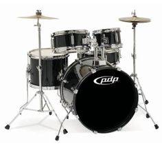 PDP Junior Drum Set - durable hardwood shells, complete 5 pc set - 3 to 9 year olds