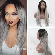 Wigs  high quality grey ombre silky straight wigs with dark roots synthetic lace front wig heat resistant fiber in stock free shipping >>> Ne zabud'te proverit' etot udivitel'nyy produkt.