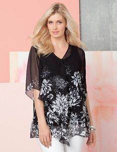 Beauty is in full bloom on this sheer V-neck blouse with a pretty, stamped floral print. A fluttering layer cascades from the shoulder and down to the hem for added flattery. Complete with angled-cut short sleeves and side slits at the hem. Catherines tops are perfectly proportioned for the plus size woman. catherines.com