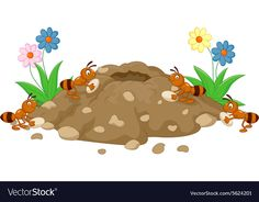Anthill in the forest land vector image on VectorStock Painted Rock Animals, Painted Rocks, Ant Art, Writing Posters, Clipart Black And White, Pet Rocks, Mother's Day Diy, Drawing For Kids, Felt Crafts