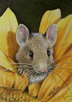 Sunflower Mouse Art  Melody Lea Lamb ACEO Print by MelodyLeaLamb, $6.25