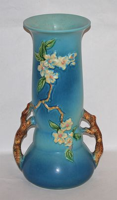 Roseville Pottery Apple Blossom Blue Vase