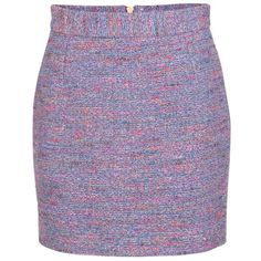 French Connection Rainbow Boucle Mini Skirt, Blue/Pink ($95) ❤ liked on Polyvore