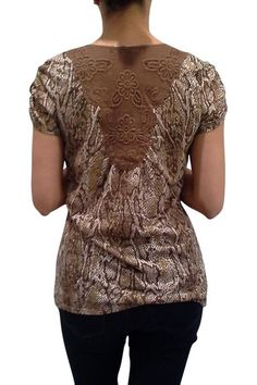 Cap Sleeve Top with Crochet Back & Snakeskin Front. Mocha/Gold.