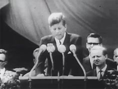 "On June 26, 1963, John F. Kennedy stood at Rudolph Wilde Platz (now John F. Kennedy Platz) in West Berlin to deliver one of his most well-known speeches. In Berlin, 120,000 people gathered to listen to President Kennedy deliver his remarks:   ""Freedom is indivisible and when one man is enslaved, all are not free. When all are free, then we can look forward to that day when this city will be joined as one and this country and this great Continent of Europe in a peaceful and hopeful globe…"""
