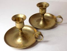 1970s Brass Chambersticks Pair of Two Gold by TimeEnoughAtLast