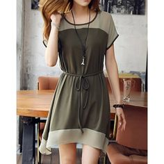 Stylish Scoop Neck Short Sleeve Color Splicing Dress For Women