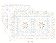 Material: Barbante EuroRoma 4/6 Milano nas cores 750 – Laranja e 804 – Verde Musgo Agulha para crochê 3,5 mm.     Tamanho: Tampo: 41 X 47 cm Tapete da Pia: 51 X 37 cm Tapete do Vaso: 57 X 44 cm Execução: Inicie com 7 correntinhas, feche em anel com