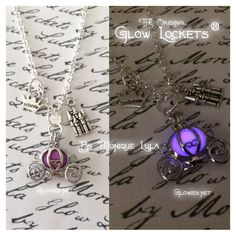 This version of my glowing Cinderella carriage necklace has a beautiful purple day color and glows magical true violet purple in the dark after being exposed to direct sunlight outdoors! Get a free UV light with your order so you can charge your necklace whether the sun is out or not Delicately and professionally handmade by Monique Lula in my smoke free jewelry studio in California, USA! The little glowies store that started the whole trend! Add genuine birthstone crystal to this necklace…