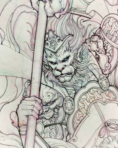 Late might monkey king sketch. #monkeyking #sketch #illustration #drawing #irezumi #tattoo #asiantattoo #asianink #irezumi #irezumicollective