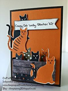 Stampin'Up! Crazy Cat Lady - Starter Kit Card Cat punch. Weekend Blog - Tap the link now to see all of our cool cat collections!