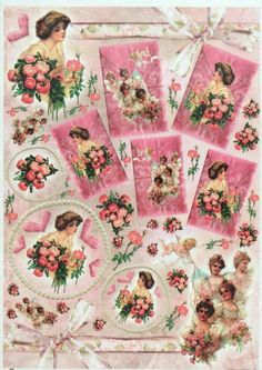 Rice Paper for Decoupage Decopatch Scrapbook Craft Sheet Vintage Pink Love