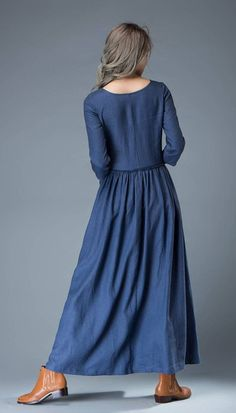 Maxi Blue Linen Dress  Cobalt Long Lagenlook Spring by YL1dress