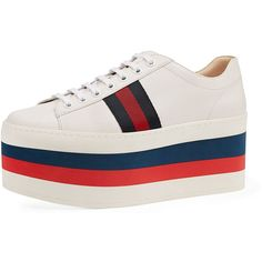 Gucci Peggy Striped Platform Sneaker (€730) ❤ liked on Polyvore featuring shoes, sneakers, shoes sneakers, white, white platform shoes, gucci trainers, white lace up sneakers, white leather sneakers and leather shoes