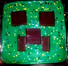 Chocolate Creeper Cake. I like the idea of using Hershey's for the eyes and mouth.